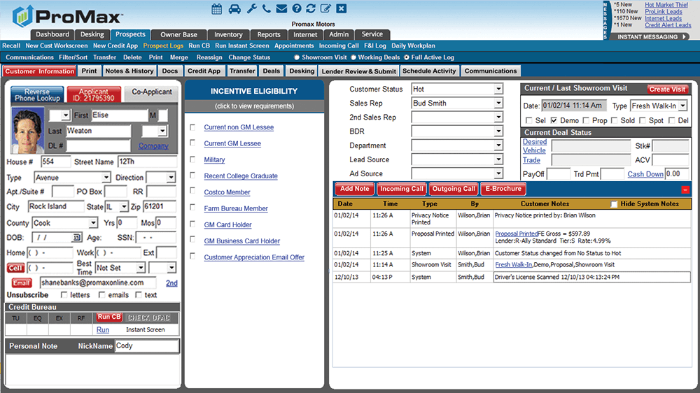 Incentives and rebates optimizer in ProMax automotive desking tool