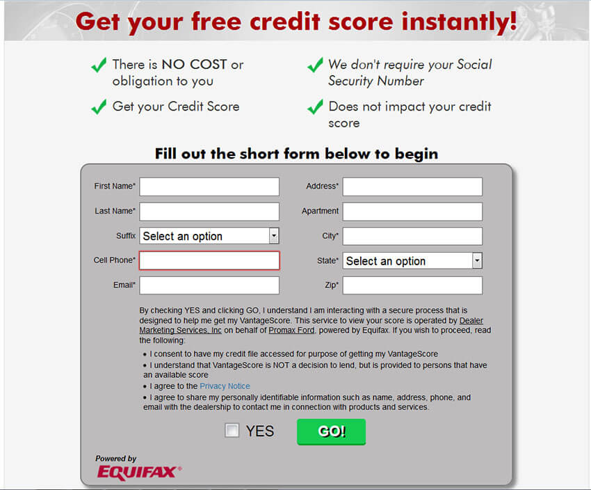 Instant Score powered by Equifax