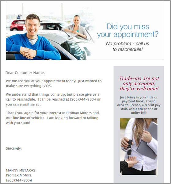 ProMax Mobile email example
