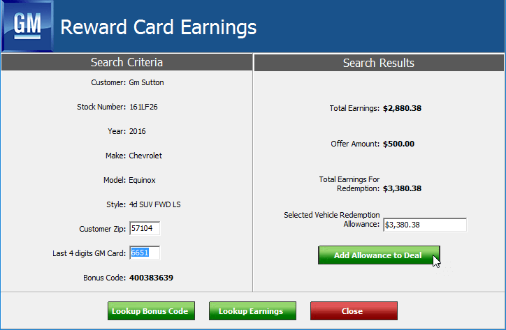 GM reward card